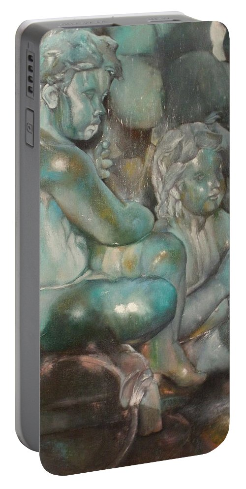 Art Fine Portable Battery Charger featuring the painting Fuente Girondins-Detalle by Tomas Castano