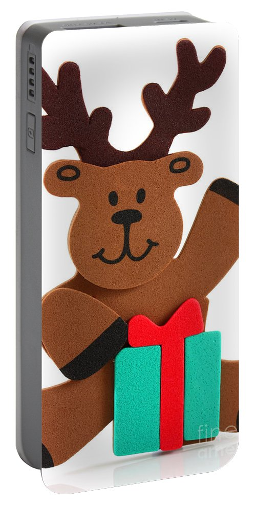 Animal Portable Battery Charger featuring the photograph Fun Reindeer Sitting by Simon Bratt Photography LRPS
