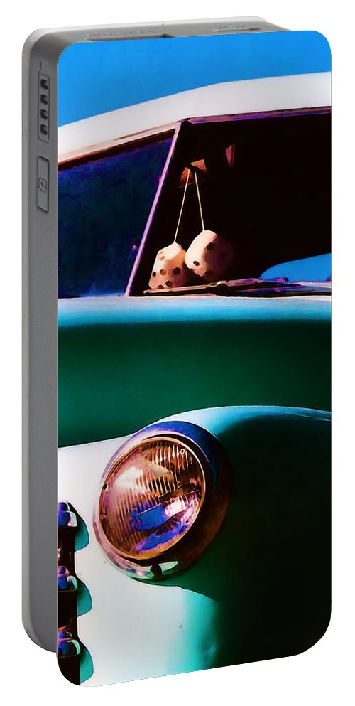Chevy Portable Battery Charger featuring the photograph Fuzzy Dice by Terry Fiala