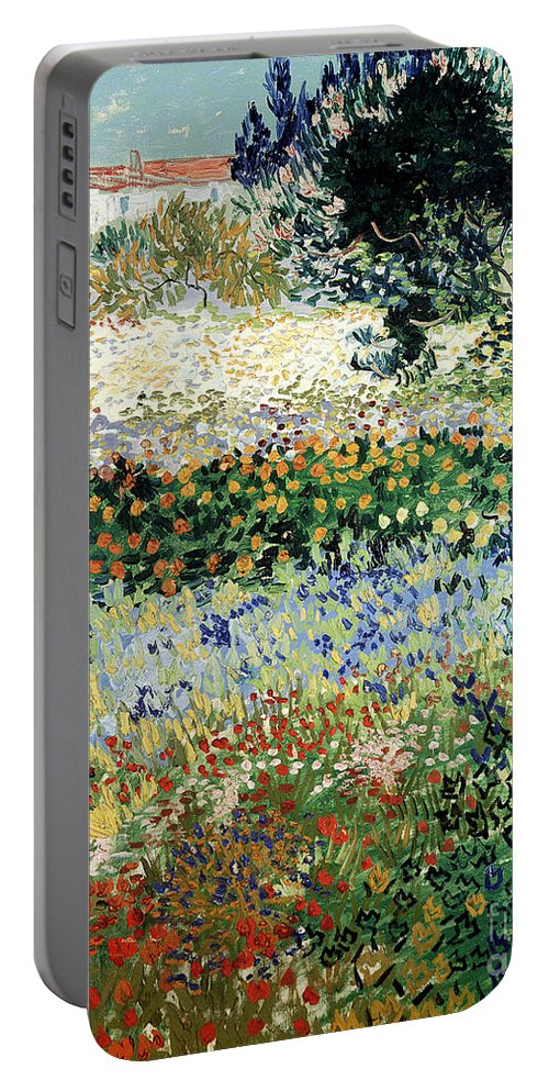 Garden In Bloom Portable Battery Charger featuring the painting Garden in Bloom by Vincent Van Gogh