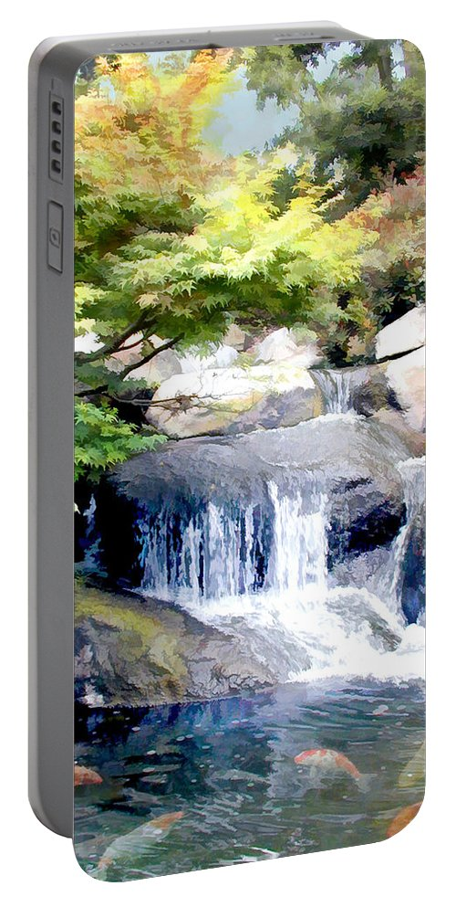 Japanese Garden Portable Battery Charger featuring the painting Garden Waterfall With Koi Pond by Elaine Plesser
