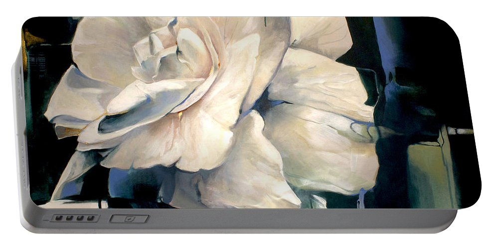 Lin Petershagen Portable Battery Charger featuring the painting Gardenia by Lin Petershagen