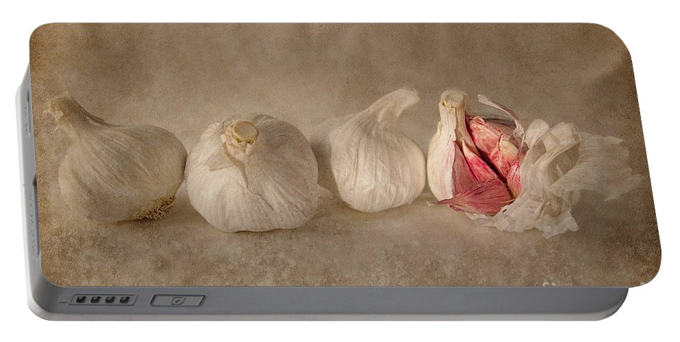 Garlic Portable Battery Charger featuring the photograph Garlic And Textures by Ann Garrett