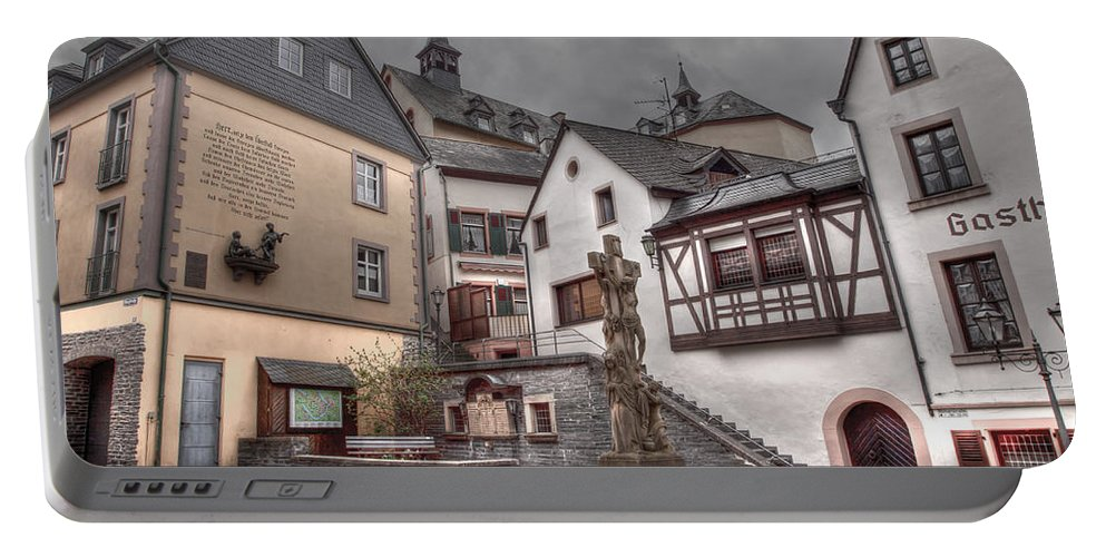 Hdr Portable Battery Charger featuring the photograph Gasthaus And Church-colour by Bill Lindsay