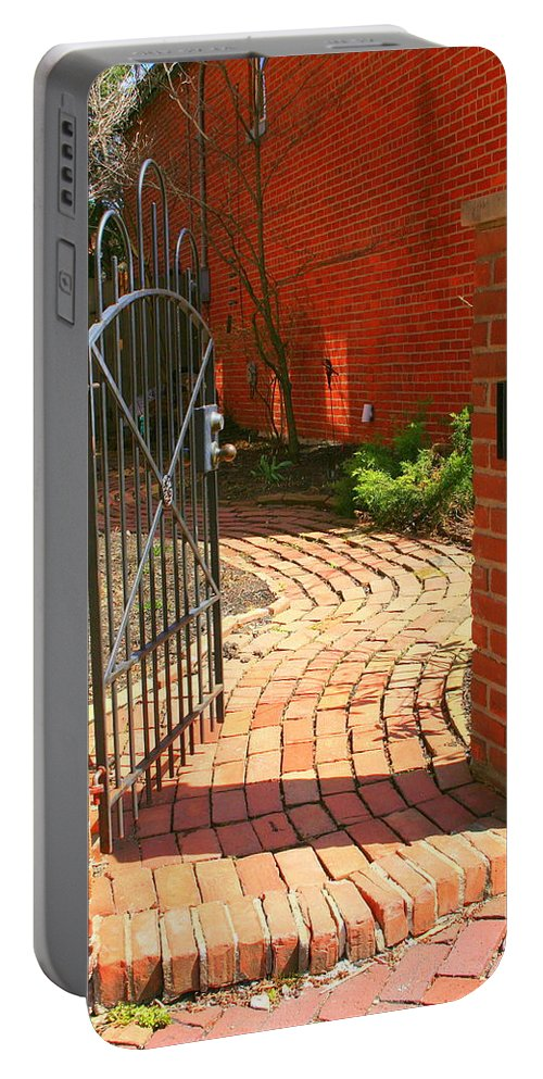 Gate Portable Battery Charger featuring the photograph Gateway To A Garden by Laurel Talabere