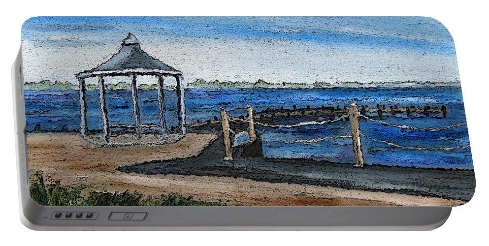 Gazebo Portable Battery Charger featuring the painting Gazebo by Clara Sue Beym