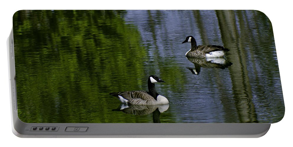 Geese Portable Battery Charger featuring the photograph Geese On The Pond by LeeAnn McLaneGoetz McLaneGoetzStudioLLCcom