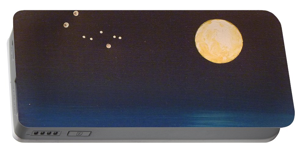 Gemini Portable Battery Charger featuring the painting Gemini by Alys Caviness-Gober