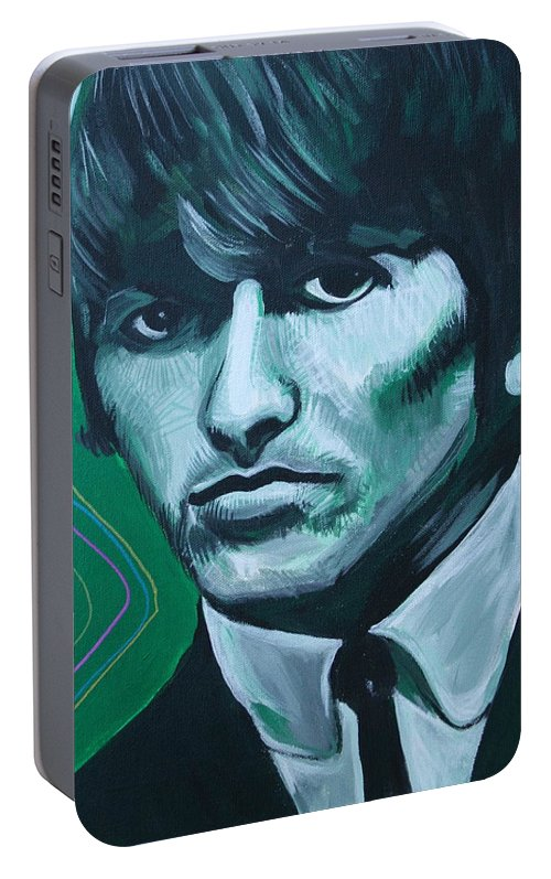 Beatles Portable Battery Charger featuring the painting George Harrison by Kate Fortin