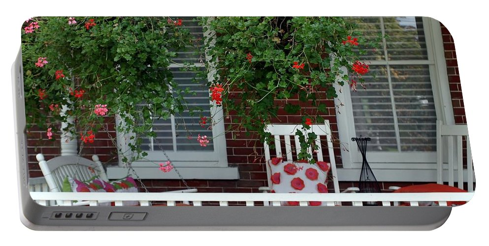 Porch Portable Battery Charger featuring the photograph Geranium Good Times 2 by Living Color Photography Lorraine Lynch