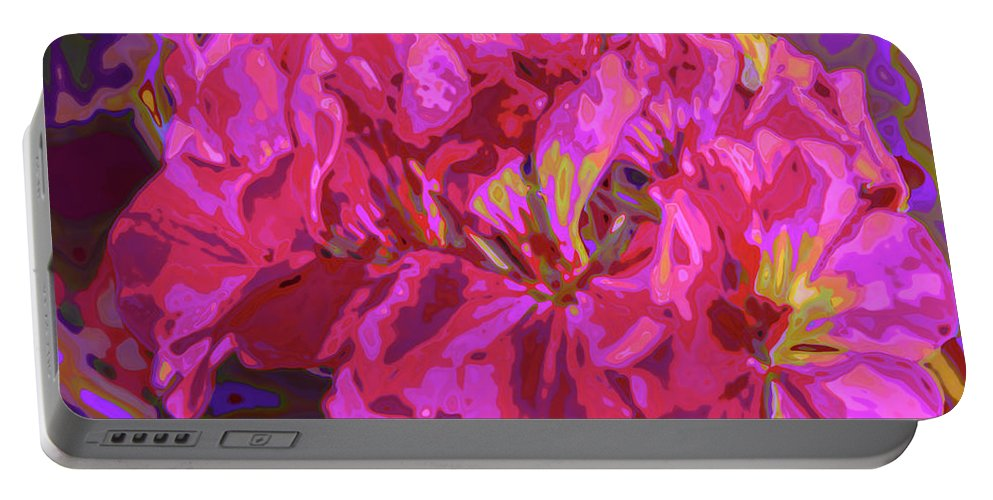 Geranium Portable Battery Charger featuring the digital art Geranium Pop by Charles Muhle