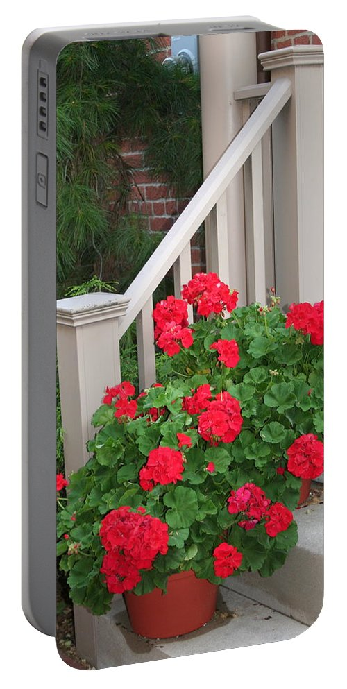 Geranium Portable Battery Charger featuring the photograph Geraniums On The Steps by Laurel Talabere