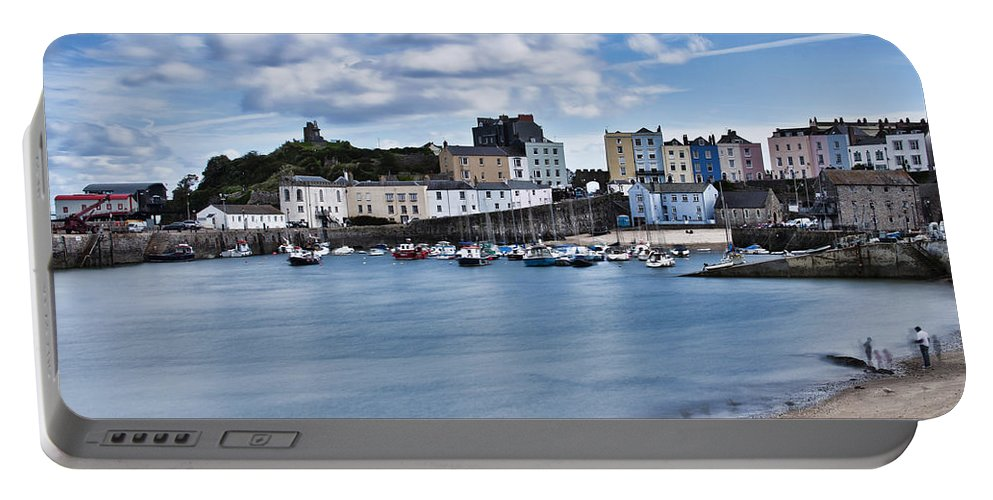 Tenby Harbour Portable Battery Charger featuring the photograph Ghosts On The Beach by Steve Purnell