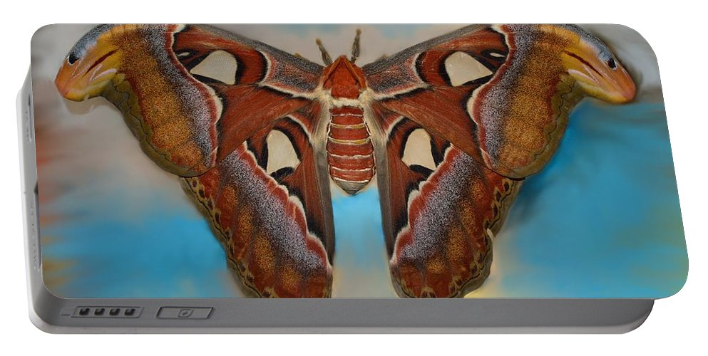 Antenna Portable Battery Charger featuring the photograph Giant Silk Moth by William Bartholomew