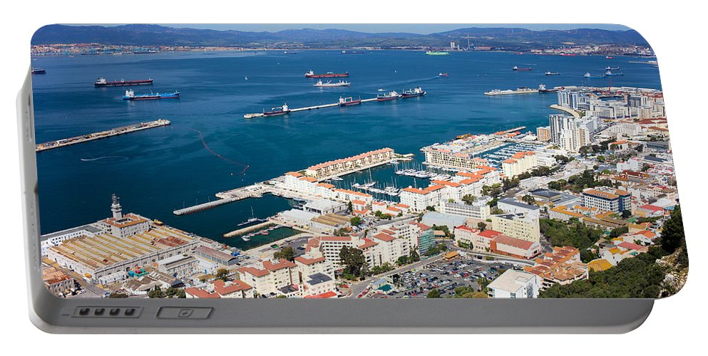 Gibraltar Portable Battery Charger featuring the photograph Gibraltar Town And Bay by Artur Bogacki