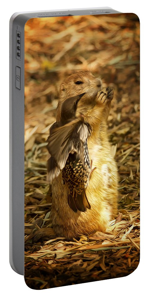 Prairie Dog Portable Battery Charger featuring the photograph Gimme My Carrot by Linda Tiepelman