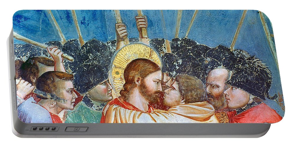 1305 Portable Battery Charger featuring the photograph Giotto: Betrayal Of Christ by Granger