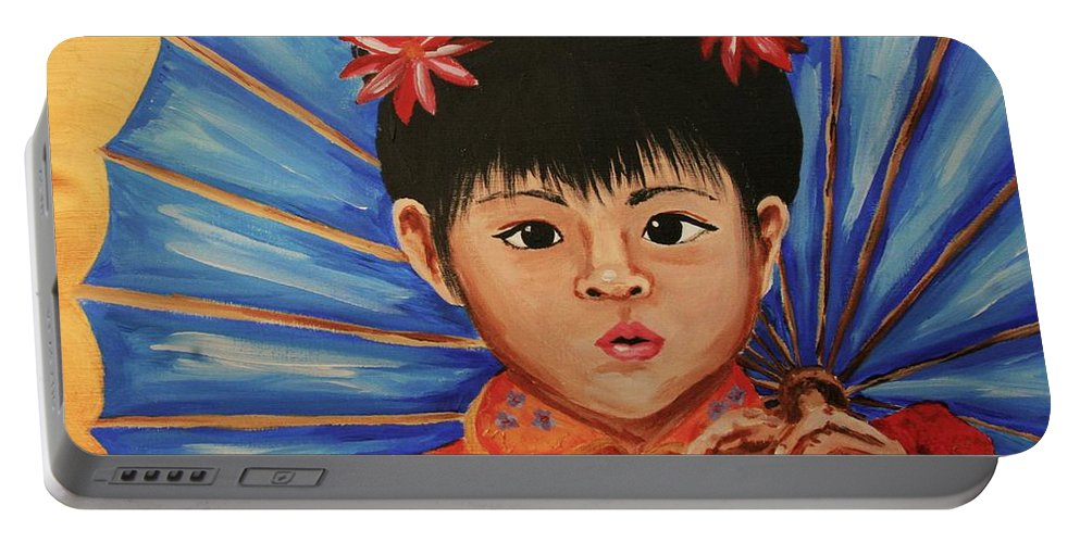 Chinese Portable Battery Charger featuring the painting Girl And Umbrella by Cris Motta