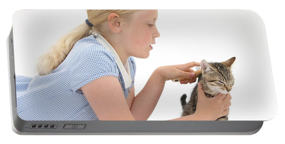Nature Portable Battery Charger featuring the photograph Girl Grooming Kitten by Mark Taylor