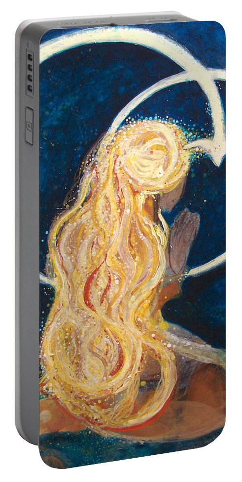 Joy Portable Battery Charger featuring the painting Girl Praying by Ashleigh Dyan Bayer