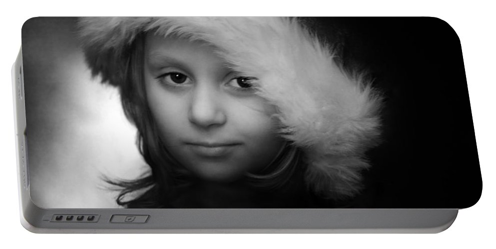 Portrait Portable Battery Charger featuring the photograph Girl With Hat by Ron Jones
