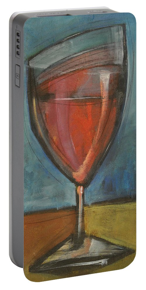 Wine Portable Battery Charger featuring the painting Glass Of Red by Tim Nyberg