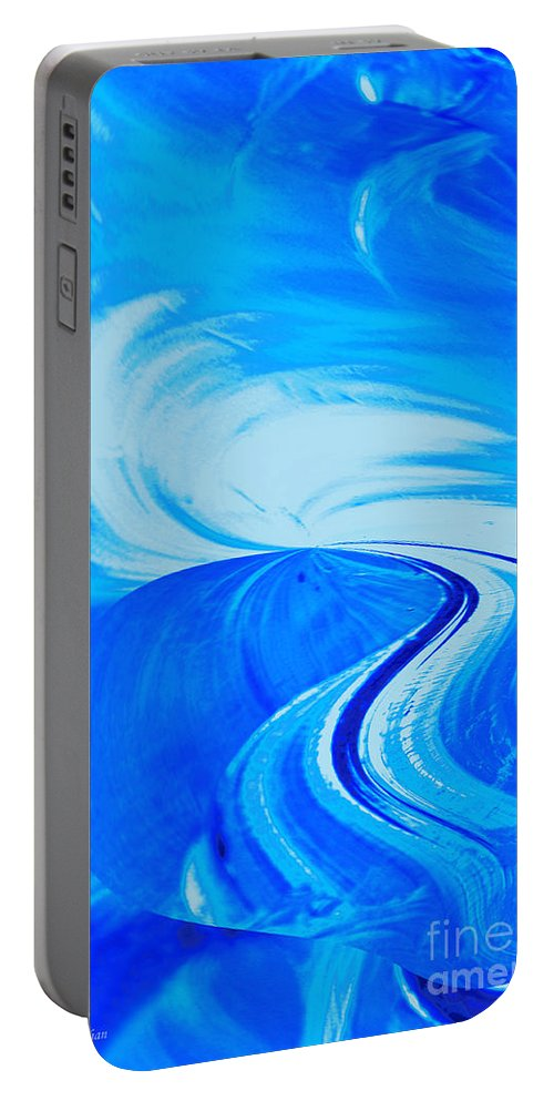 Abstract Photography Portable Battery Charger featuring the photograph Glassworks In Blue by Regina Geoghan