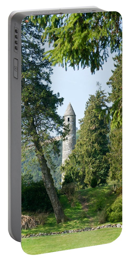 Round Portable Battery Charger featuring the photograph Glendalaugh Round Tower 11 by Douglas Barnett