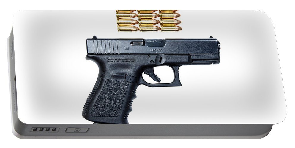 Cutout Portable Battery Charger featuring the photograph Glock Model 19 Handgun With 9mm by Terry Moore