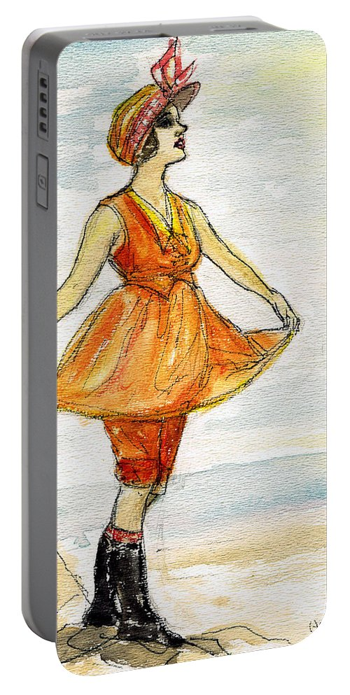 Nostalgia Portable Battery Charger featuring the drawing Gloria Swanson by Mel Thompson