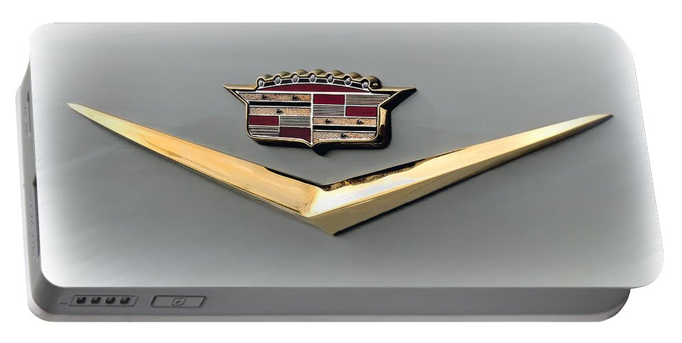 Cadillac Portable Battery Charger featuring the digital art Gold Badge Cadillac by Douglas Pittman