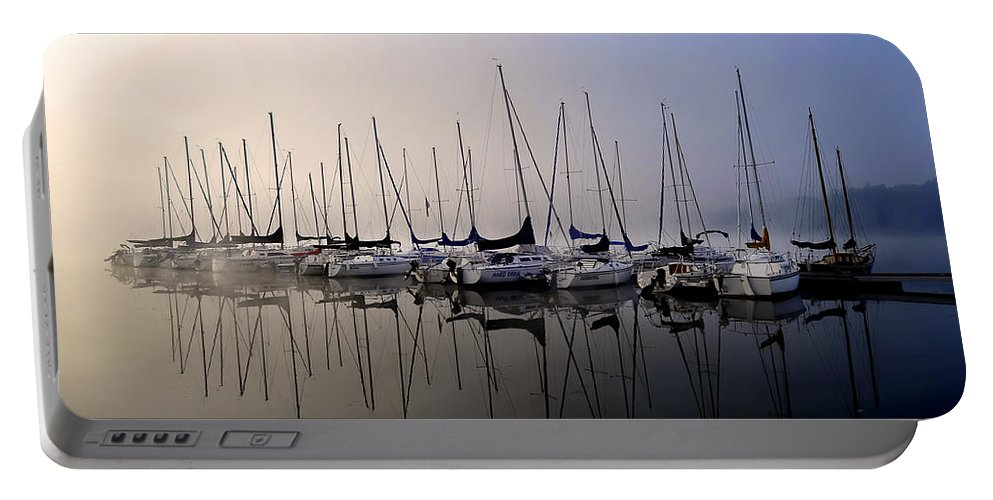 Gold Fog Blue Fog Sun Rise Sailboatssailboat Blues Portable Battery Charger featuring the photograph Gold N Blue Sailboats Too by Randall Branham