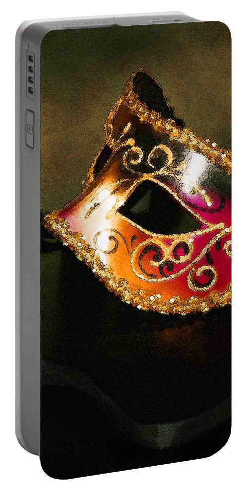 Masquerade Portable Battery Charger featuring the photograph Gold Scroll Masquerade Mask by Faith Gauthier