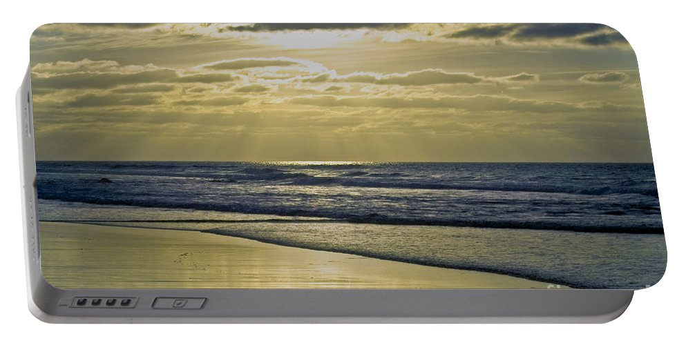 Beach Portable Battery Charger featuring the photograph Golden Blue by Heiko Koehrer-Wagner