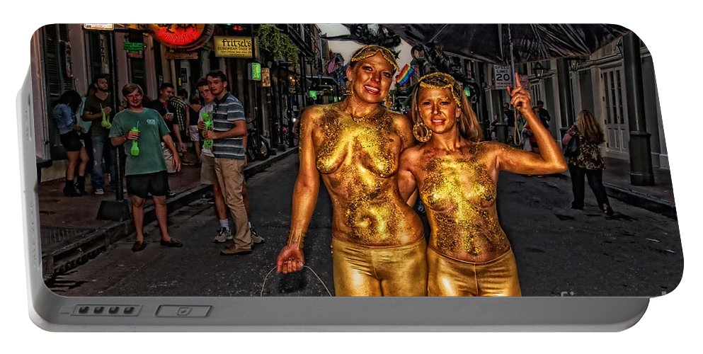 Girls Portable Battery Charger featuring the photograph Golden Girls Of Bourbon Street by Kathleen K Parker