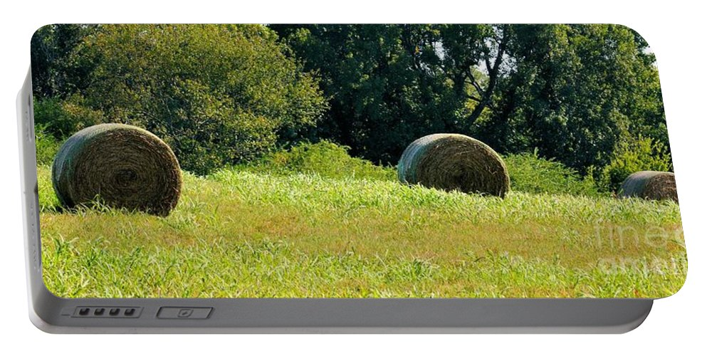 Golden Portable Battery Charger featuring the photograph Golden Hay Day by Maria Urso
