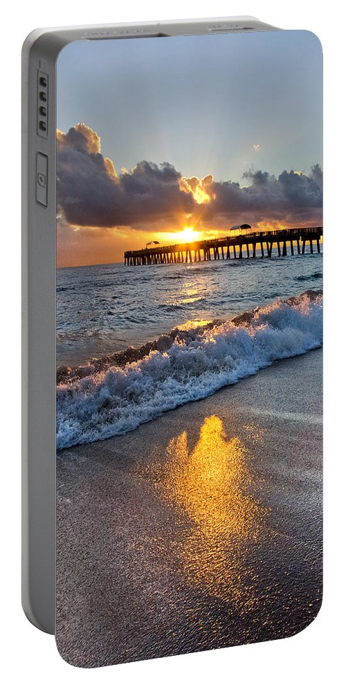 Clouds Portable Battery Charger featuring the photograph Golden Shadows by Debra and Dave Vanderlaan