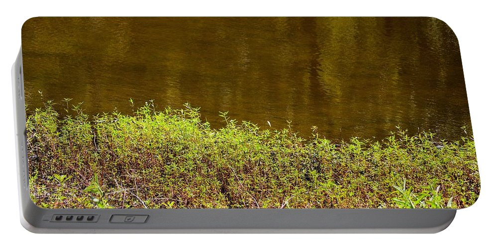 Golden Water's Edge Portable Battery Charger featuring the photograph Golden Water's Edge by Maria Urso