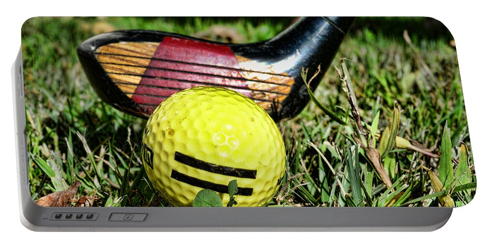 Golf Portable Battery Charger featuring the photograph Golf - Tee Time With A 3 Iron by Paul Ward