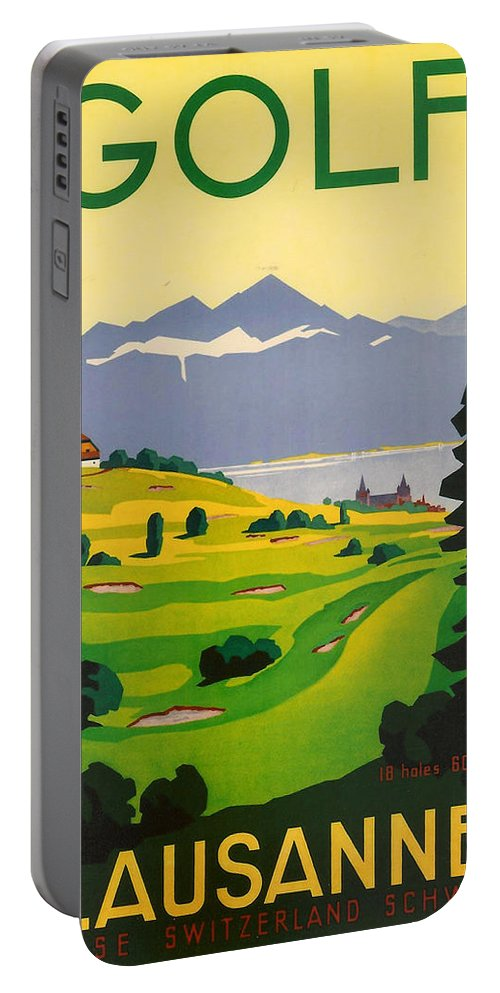 Golf Portable Battery Charger featuring the digital art Golfing In Lausanne by Georgia Fowler
