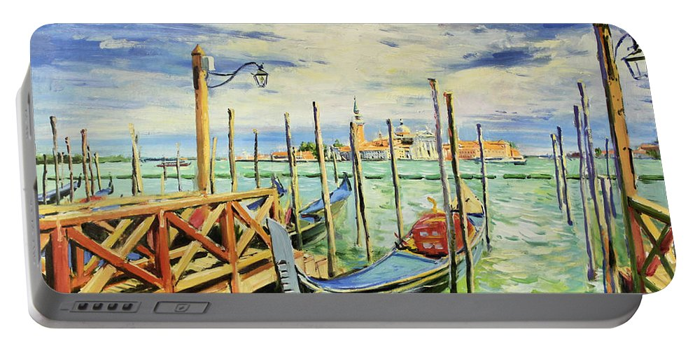 Venice (italian: Venezia Portable Battery Charger featuring the painting Gondolla Venice by Conor McGuire