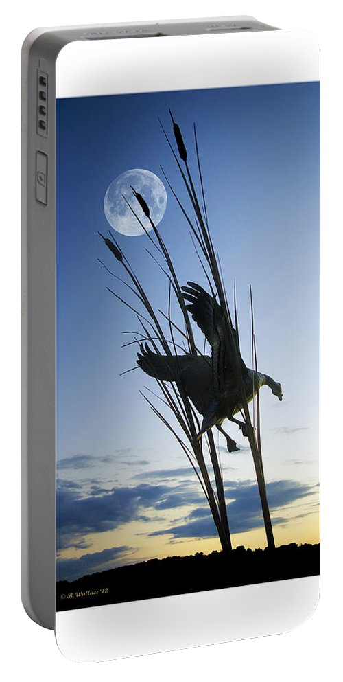 2d Portable Battery Charger featuring the photograph Goose At Dusk by Brian Wallace