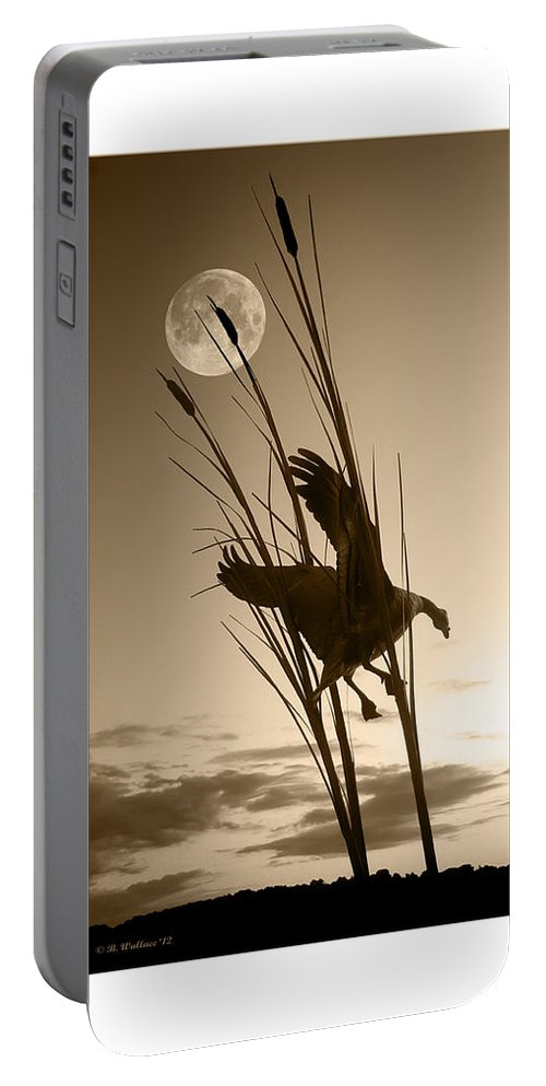 2d Portable Battery Charger featuring the photograph Goose At Dusk - Sepia by Brian Wallace