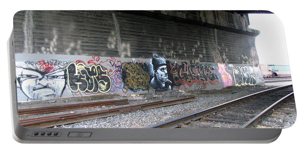 Downtown Portable Battery Charger featuring the photograph Graffiti - Under Over Railyard by Kathleen Grace