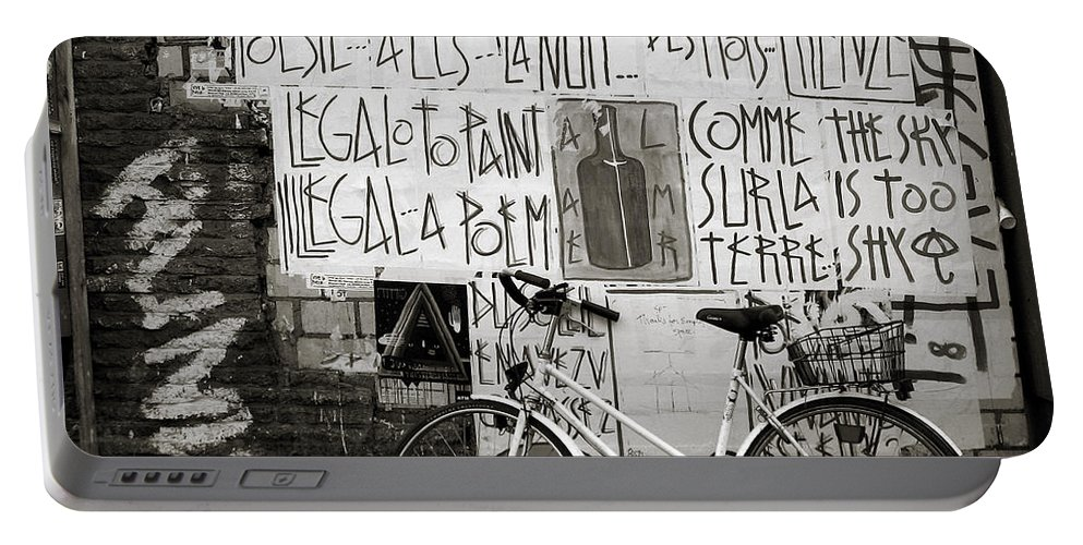 Bicycle Portable Battery Charger featuring the photograph Graffiti And Bicycle by RicardMN Photography