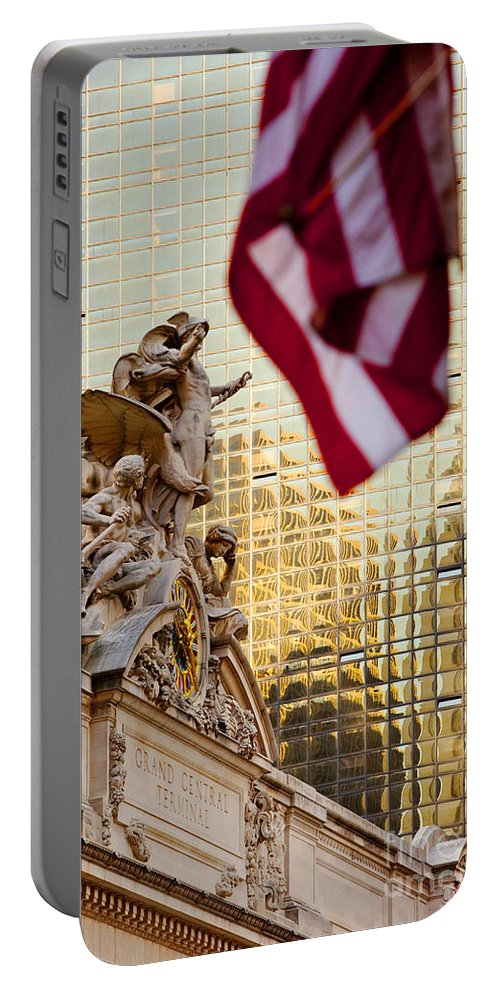 Grand Portable Battery Charger featuring the photograph Grand Central Flag by Brian Jannsen