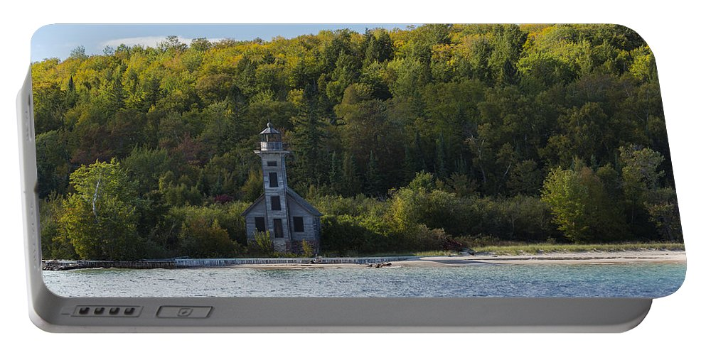 Grand Portable Battery Charger featuring the photograph Grand Island E Channel Lighthouse 4 by John Brueske