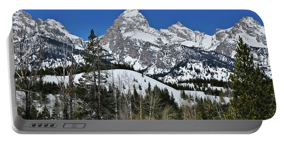 Grand Teton National Park Portable Battery Charger featuring the photograph Grand Teton In Winter by Greg Norrell