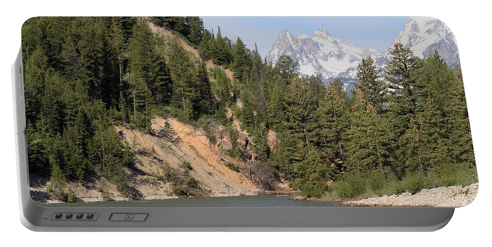Grand Tetons Portable Battery Charger featuring the photograph Grand Tetons From Snake River by Living Color Photography Lorraine Lynch