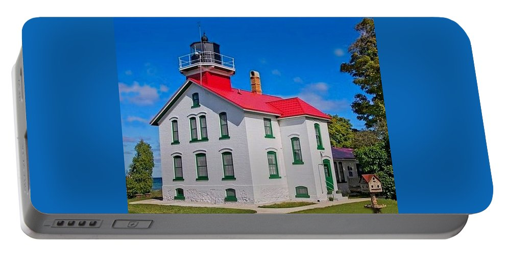 Grand Traverse Lighthouse Portable Battery Charger featuring the photograph Grand Traverse Lighthouse by Ted Lepczynski